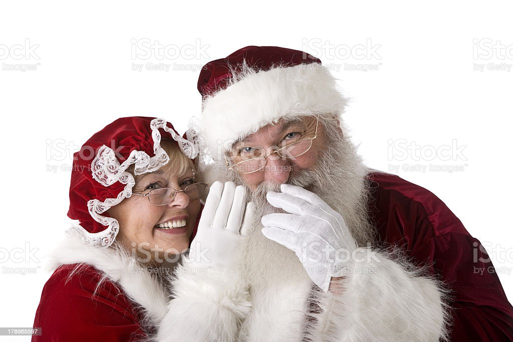 The Real Santa and Mrs. Claus Giggle at a Secret royalty-free stock photo