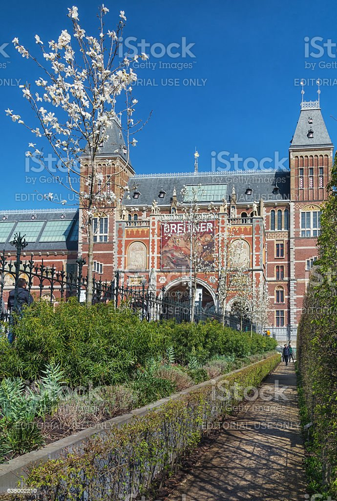 The rear of the Rijksmuseum in Amsterdam. stock photo