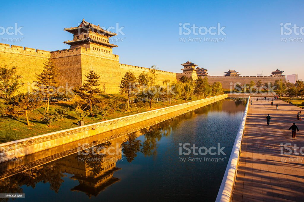 The rebuilding city wall and  gate tower of Datong stock photo