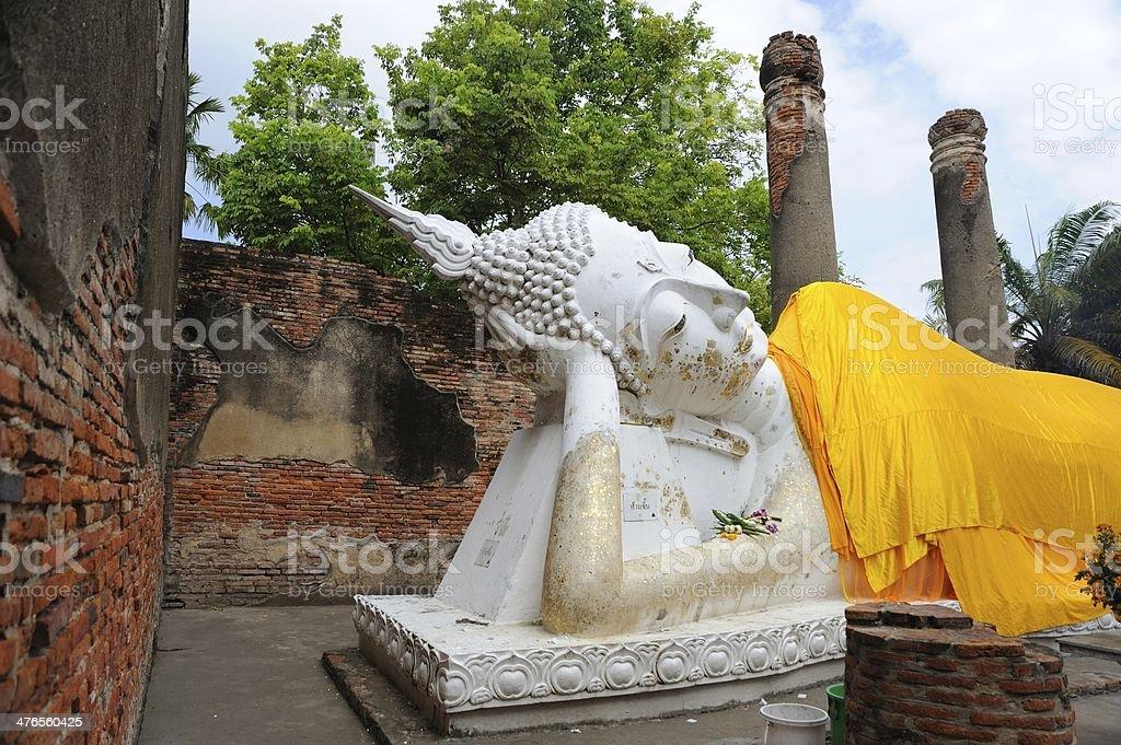 The reclining Buddha image, Wat Yai Chaimongkol royalty-free stock photo