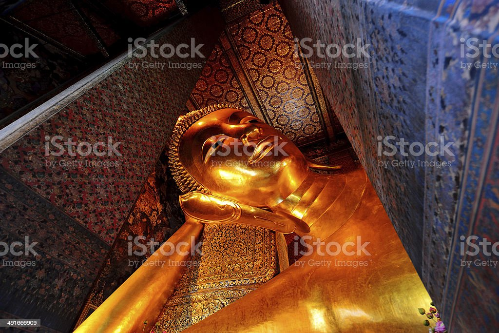 The Reclining Buddha of Wat Pho stock photo