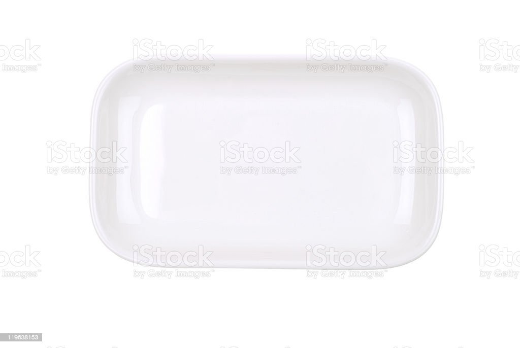 The rectangular dish on white royalty-free stock photo