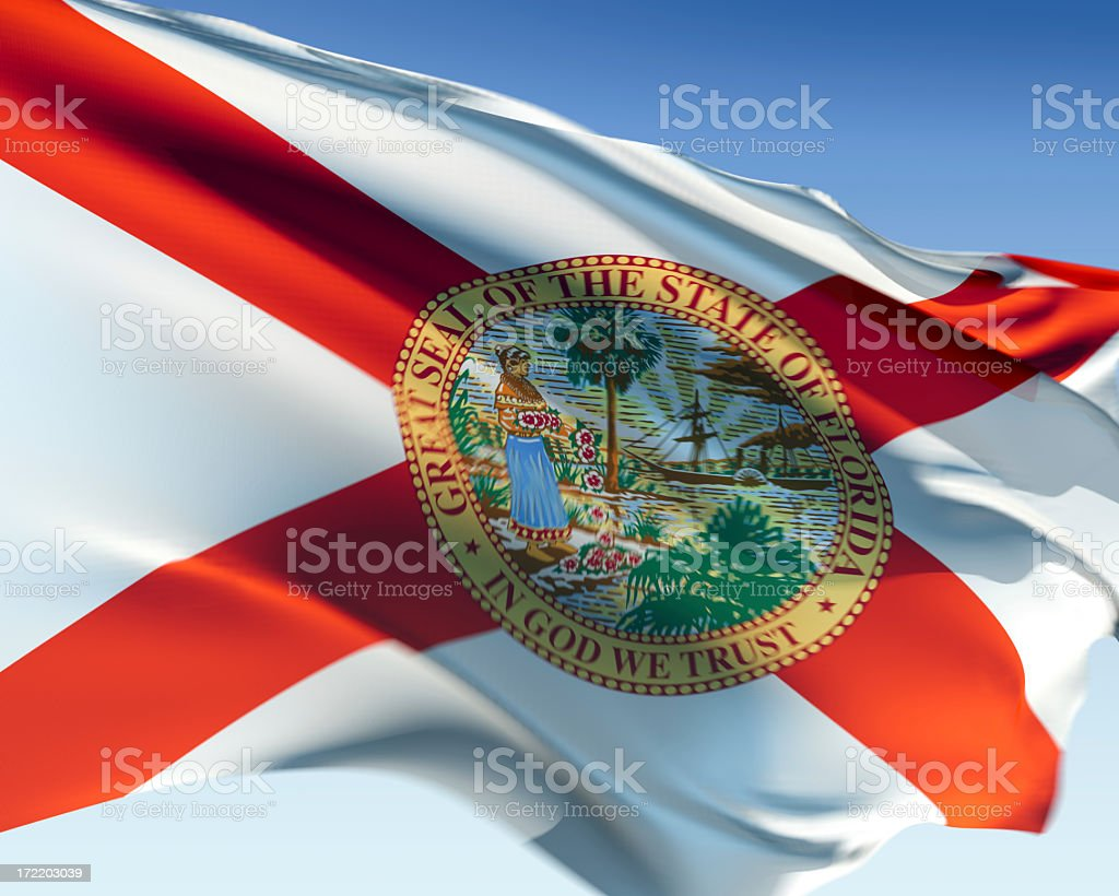 The red and white Florida flag stock photo