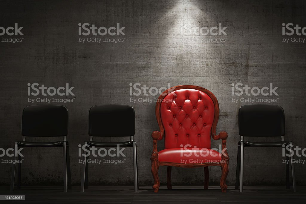 The red armchair stock photo