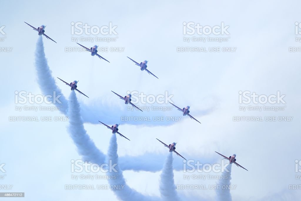 The Red Arrows at Rhyl Airshow, flying in diamond formation stock photo