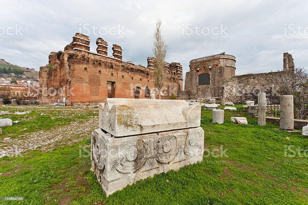 The Red Basilica Of Pergamon, Turkey stock photo