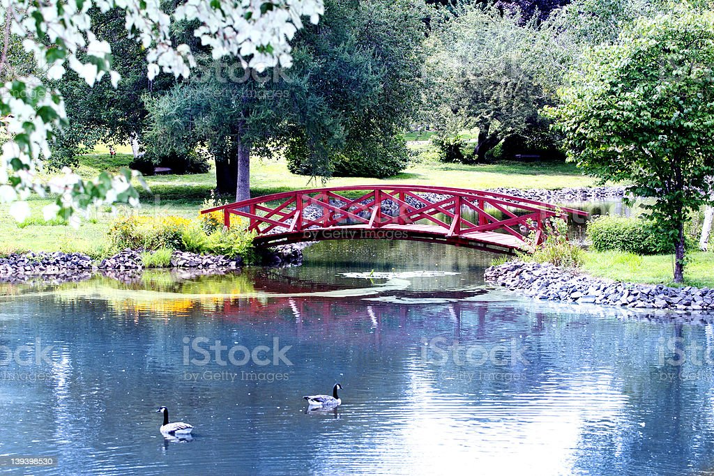 The Red Bridge royalty-free stock photo