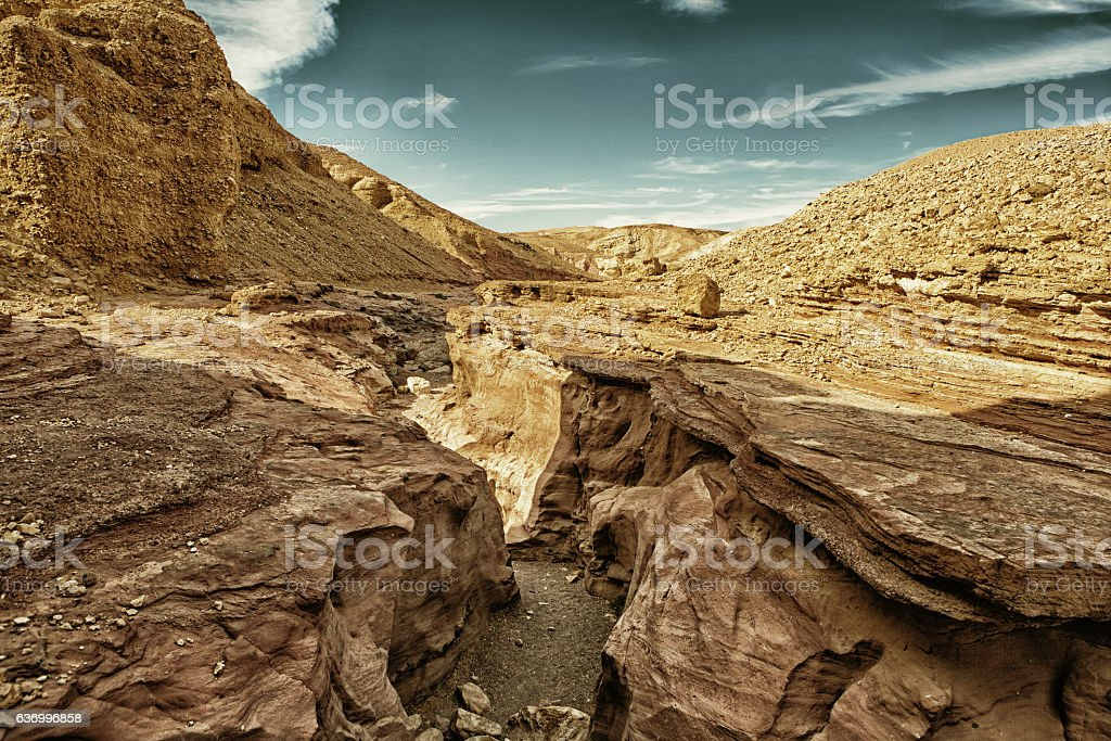 The Red Canyon tourist attraction in Israel (HDR) stock photo