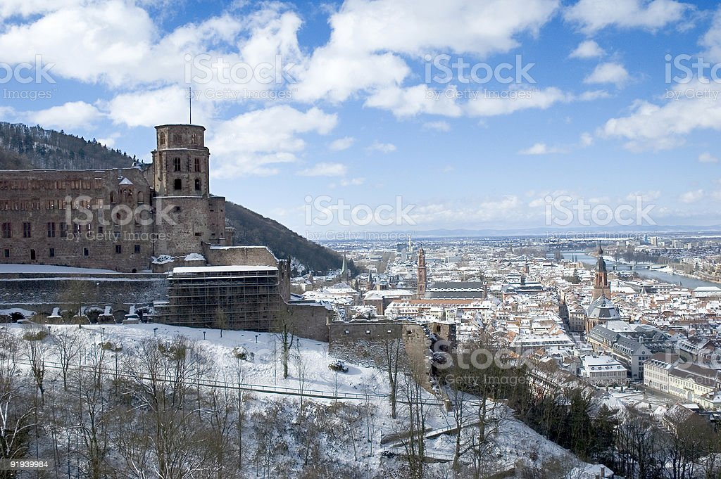 The red castle in Heidelberg, Germany stock photo