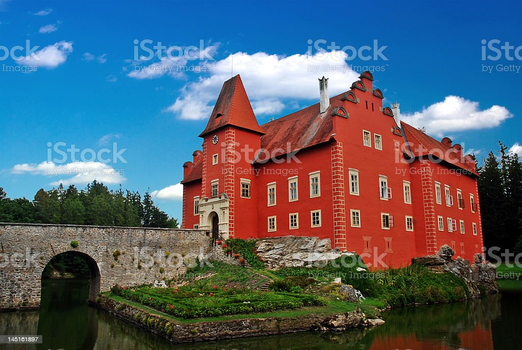 The Red chateau stock photo