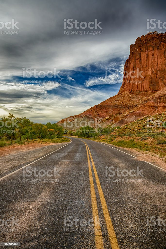 The Red Cliff Over the Highway HDR royalty-free stock photo