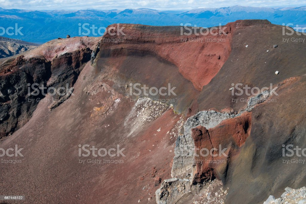 The Red Crater an iconic volcanic landscape in Tongariro national park, World Heritage Sites of New Zealand. stock photo