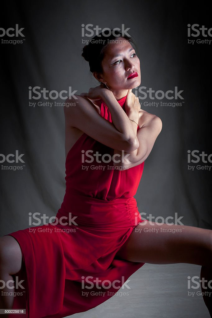 The red dress stock photo