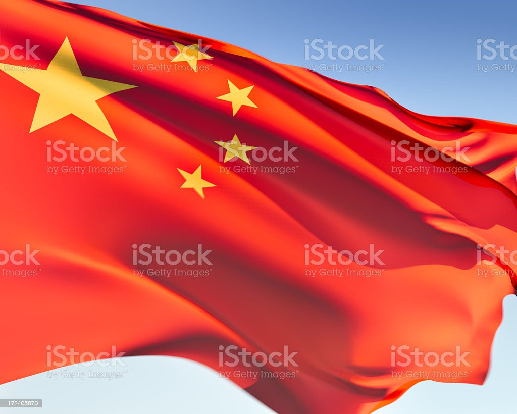 The red flag with yellow stars for China stock photo