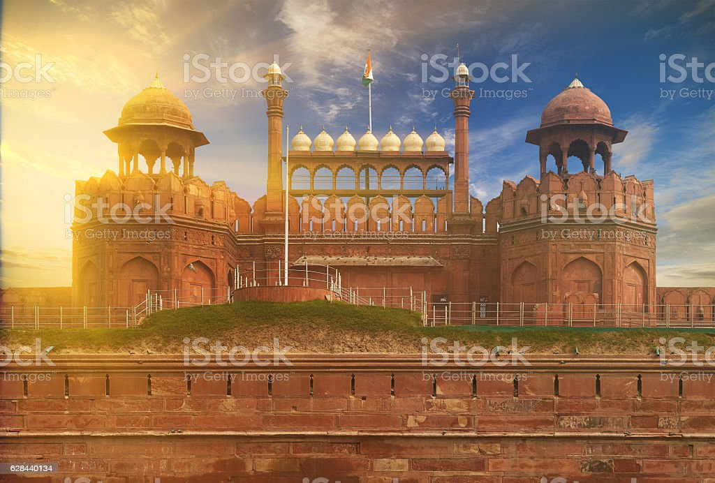 The Red Fort located in New Delhi, India. stock photo