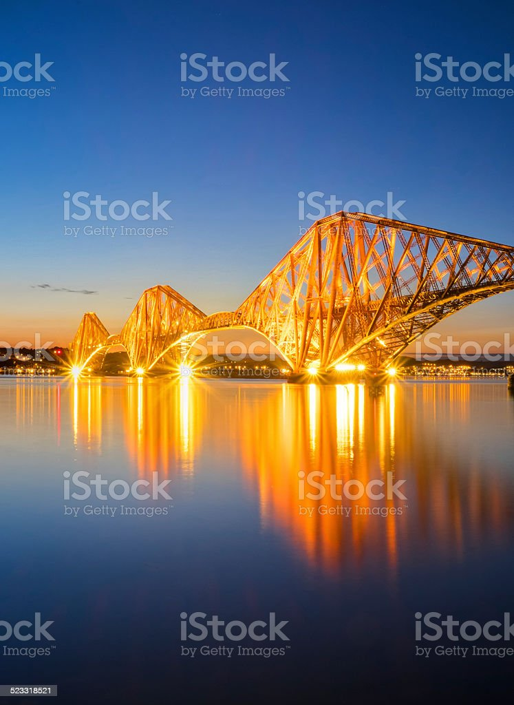 The red Forth Railbridge at night stock photo