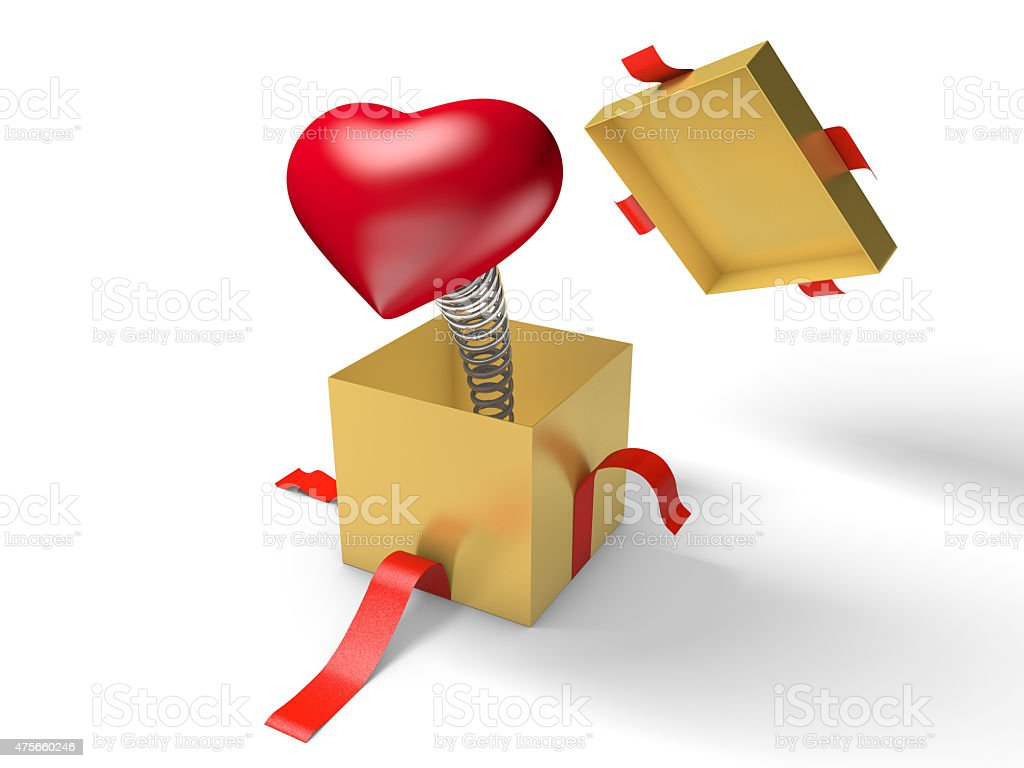 The red heart jumps out of a golden gift box stock photo