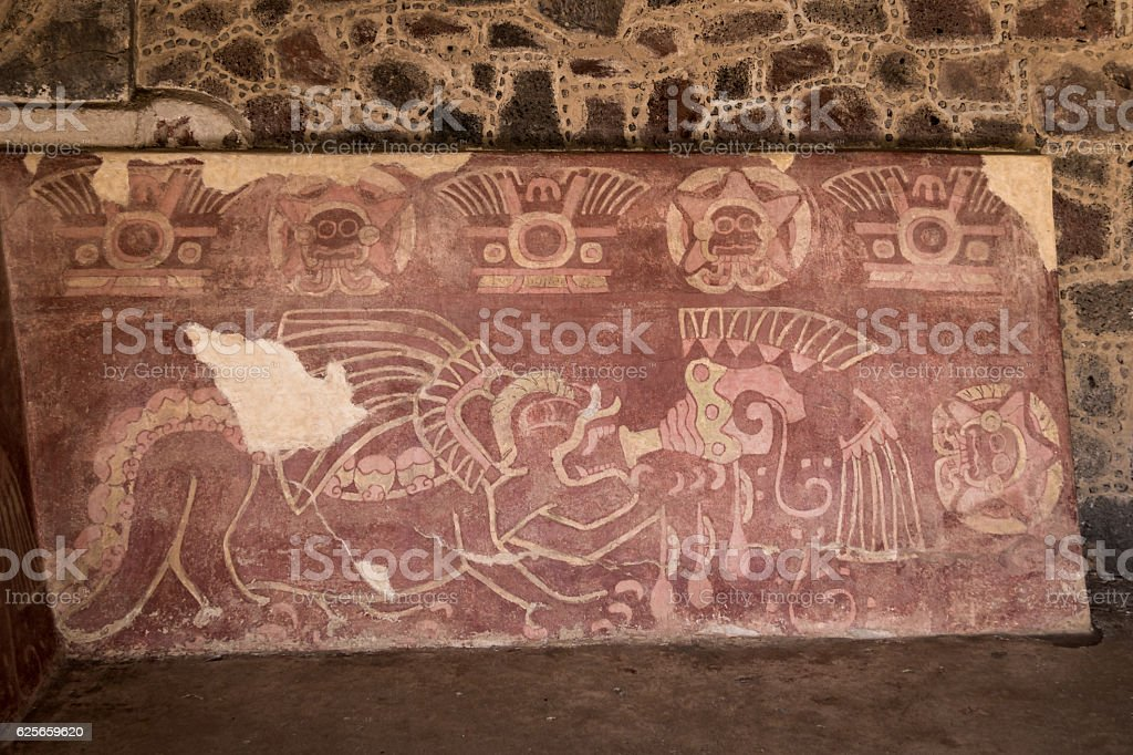 The Red Jaguar mural - Teotihuacan Ruins, Mexico City, Mexico stock photo