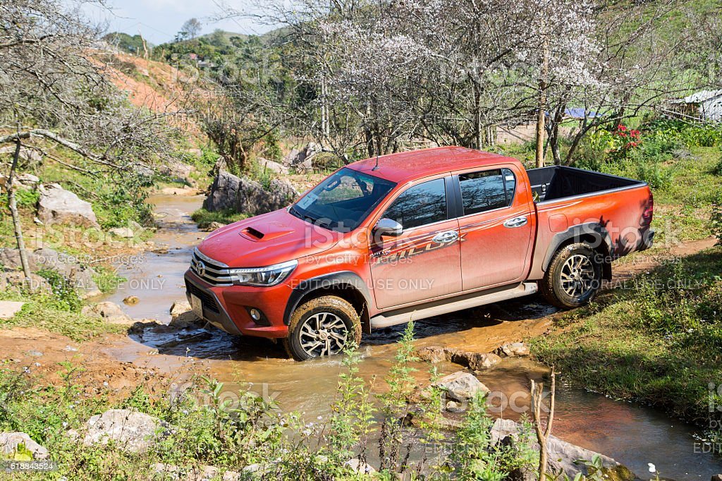 The red New Toyota Hilux 2015 car stock photo