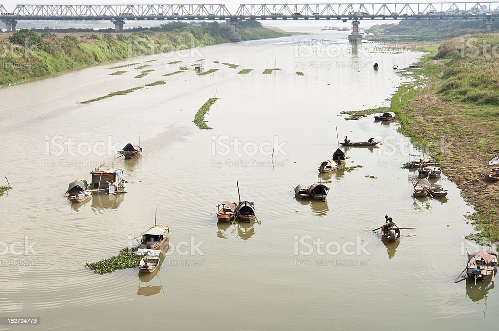 The Red River In Hanoi stock photo