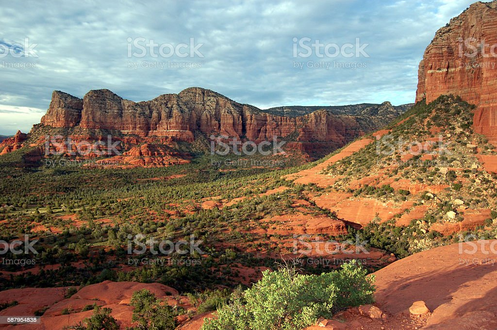 The red rocks of Sedona in the sunset stock photo
