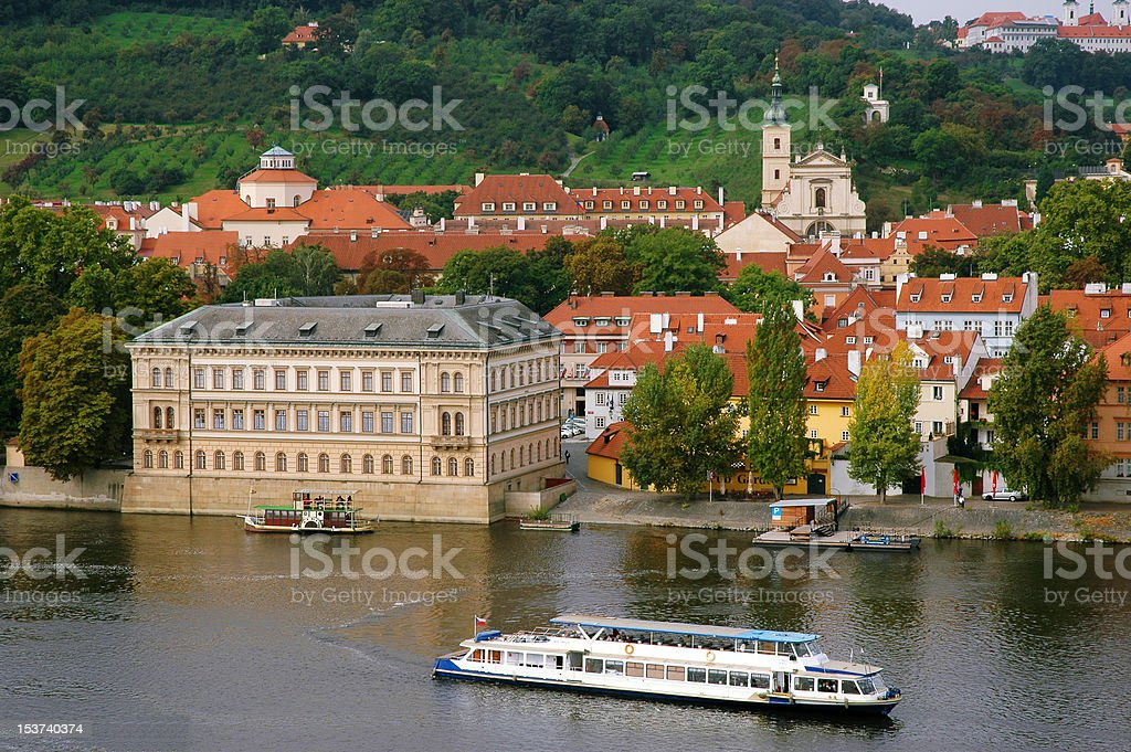 The red roofs on Vltava's riverside in Prague royalty-free stock photo