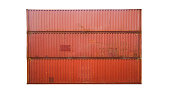 The red stack of Cargo Containers on white background