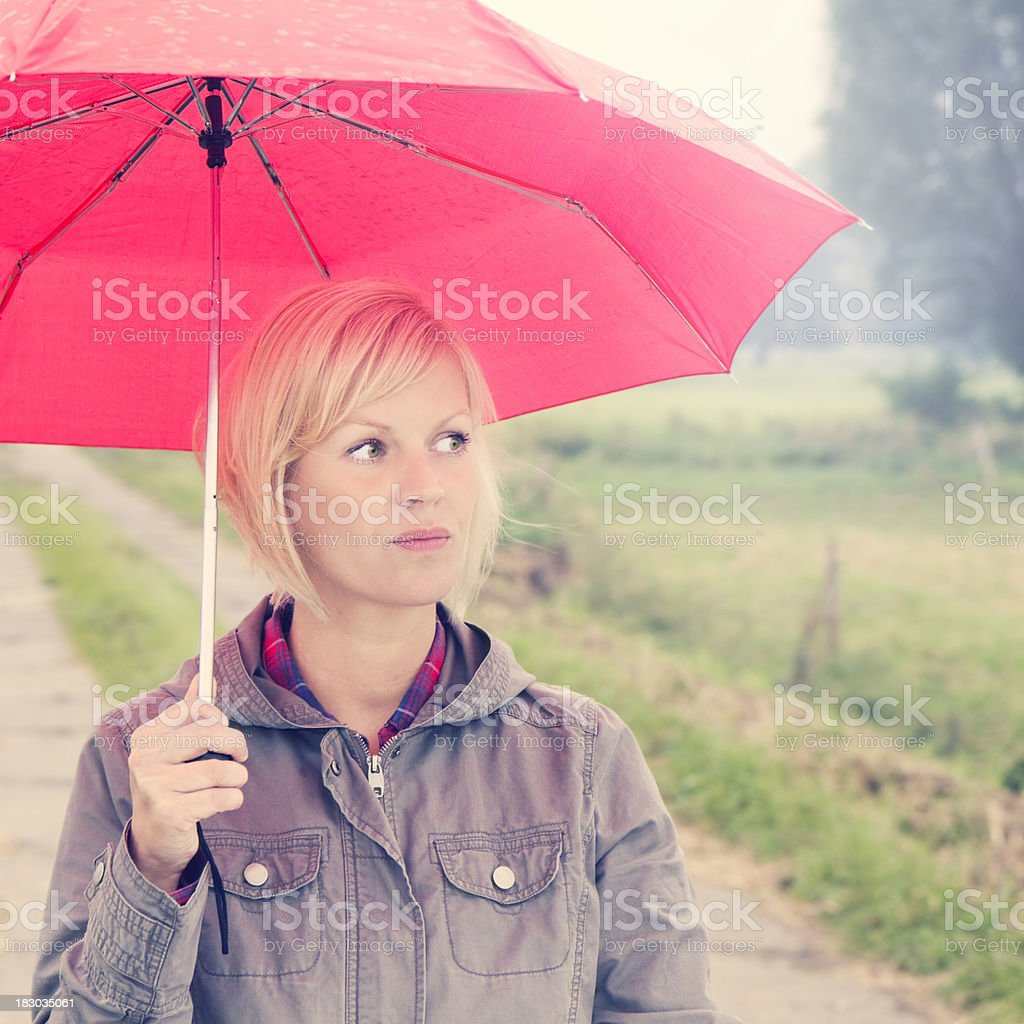 The red umbrella stock photo