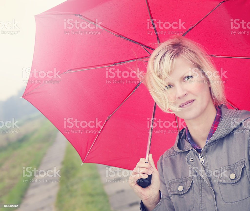 The red umbrella royalty-free stock photo