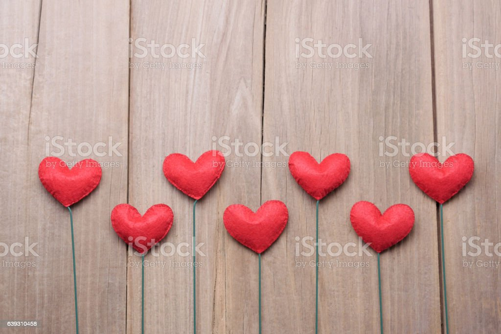 The red Valentine's day heart shape decorations background. stock photo