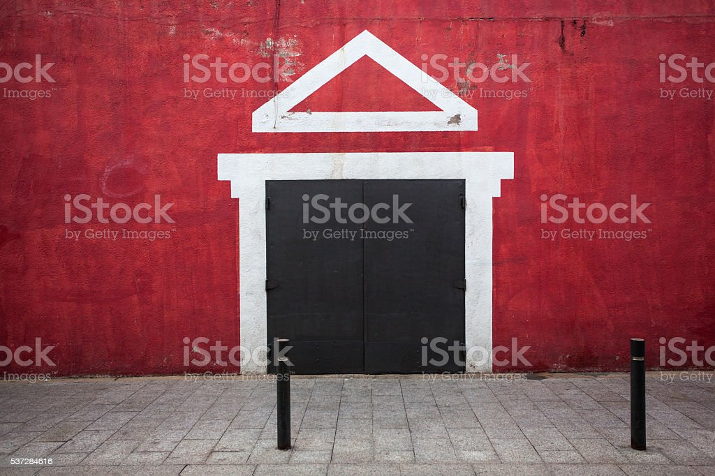 The red wall stock photo