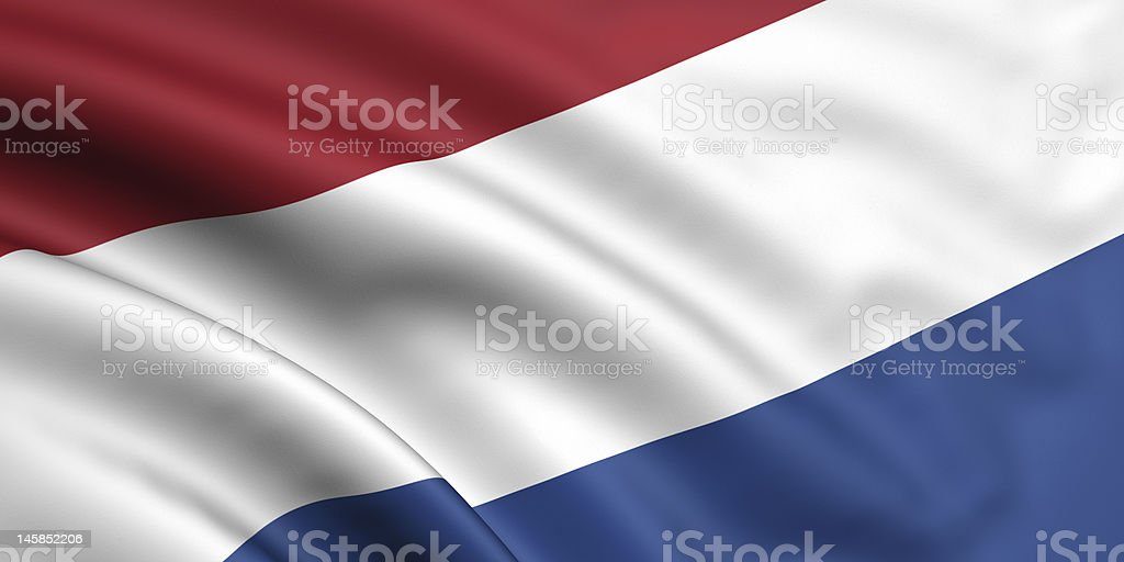 The red, white, and blue blowing flag of the Netherlands  stock photo
