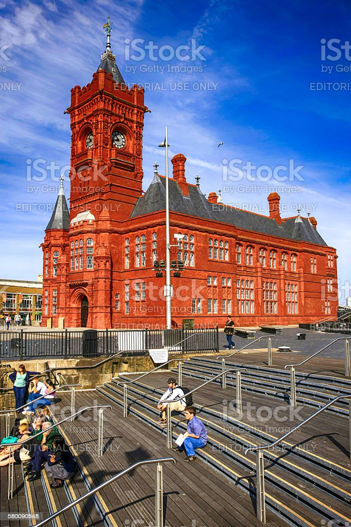 The red-brick Pierhead building in Cardiff, UK stock photo