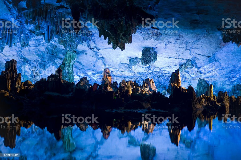 The Reed Flute Cave - reflections stock photo