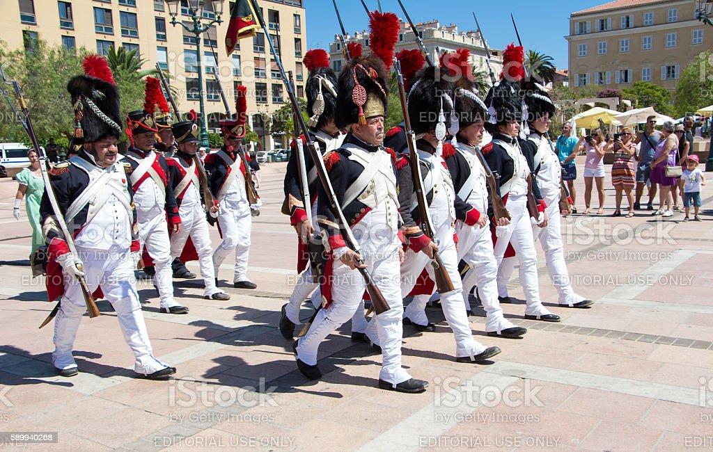 The reenactors dressed as Napoleonic soldiers, Ajaccio , Corsica island. stock photo