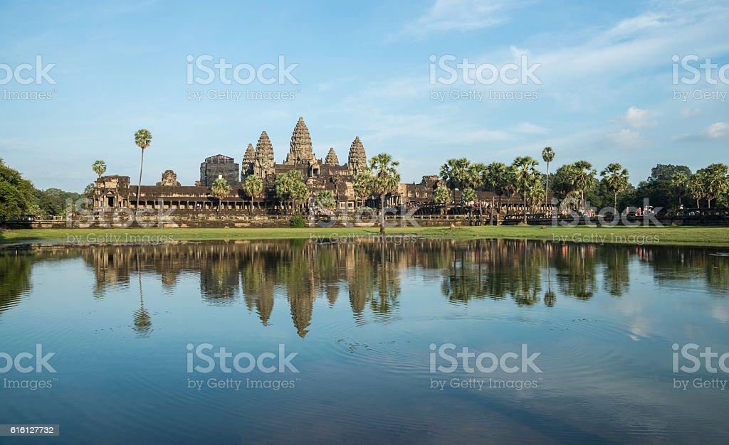 The reflection of Angkor Wat, Cambodia. stock photo