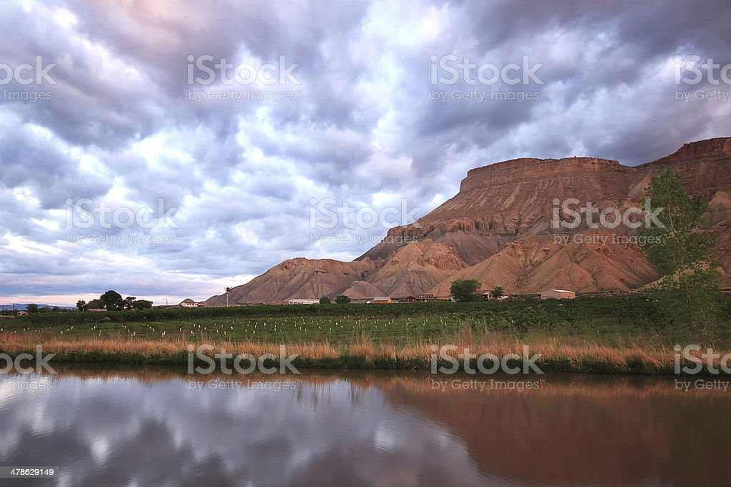 The reflection of Mt Garfield, Colorado stock photo