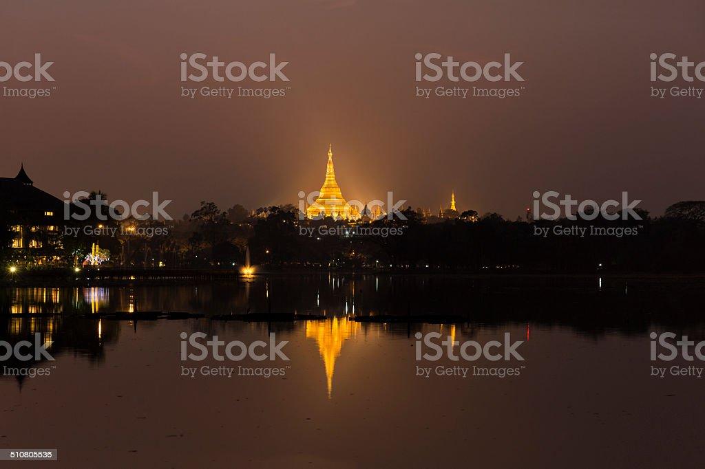 The reflection of Shwedagon Pagoda, Myanmar stock photo