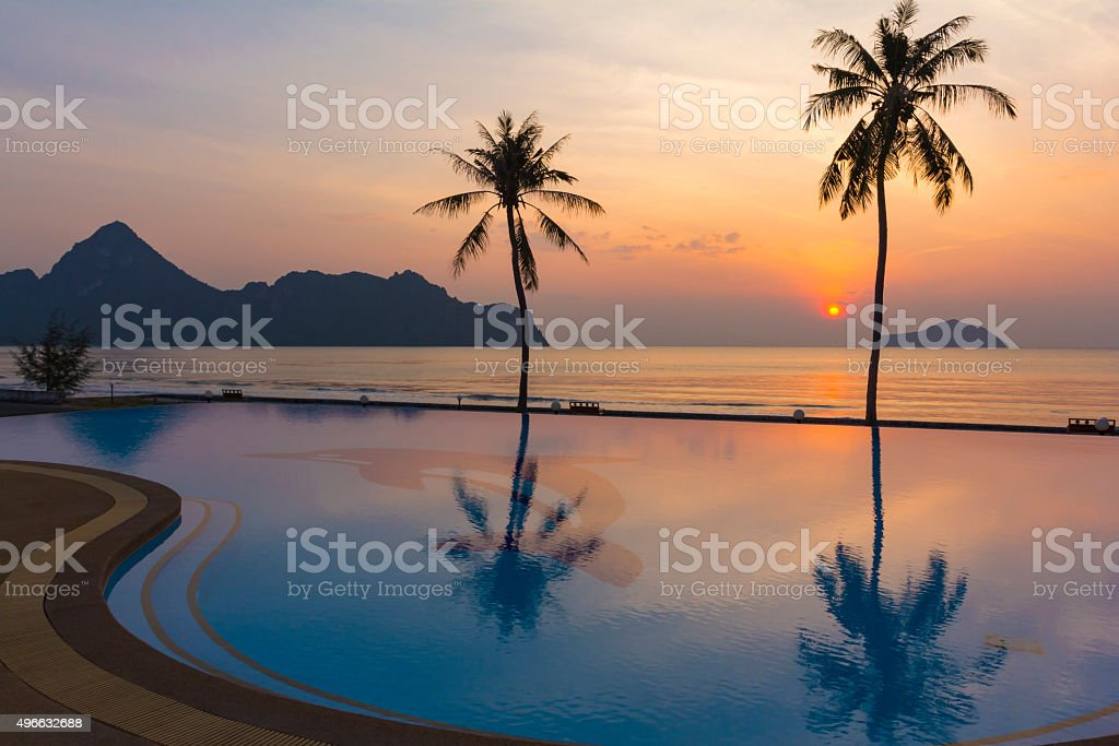 The reflection of the beautiful sky in the pool. stock photo