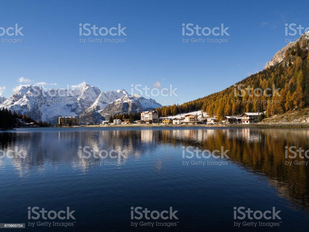 The reflection of the Misurina lake, Cadore, Italy stock photo