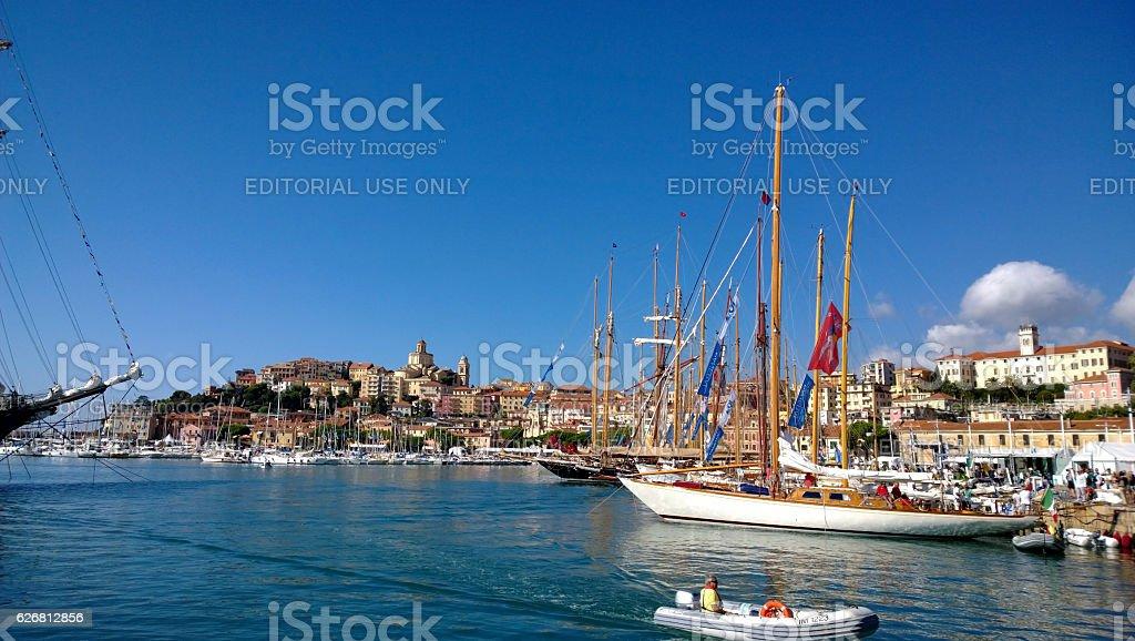 The regatta Vele d'Epoca in Imperia stock photo