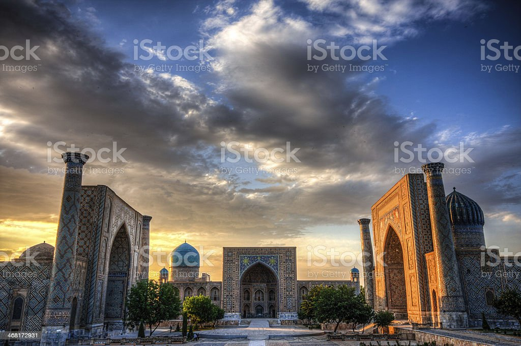 The Registran at sunset in Samarkand, Uzbekistan stock photo