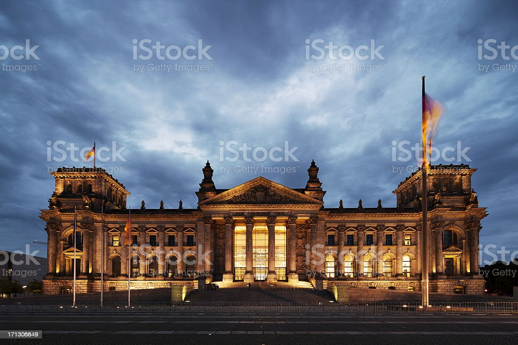 The Reichstag building at night stock photo