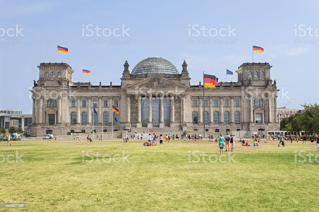 The Reichstag building in Berlin: German parliament stock photo