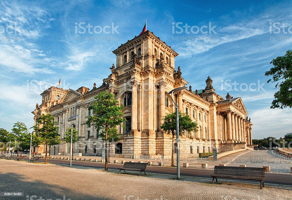 The Reichstag building in Berlin stock photo