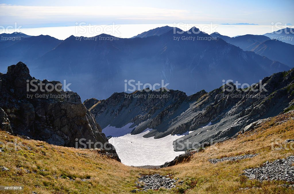The remaining snow of Tateyama mountain range stock photo
