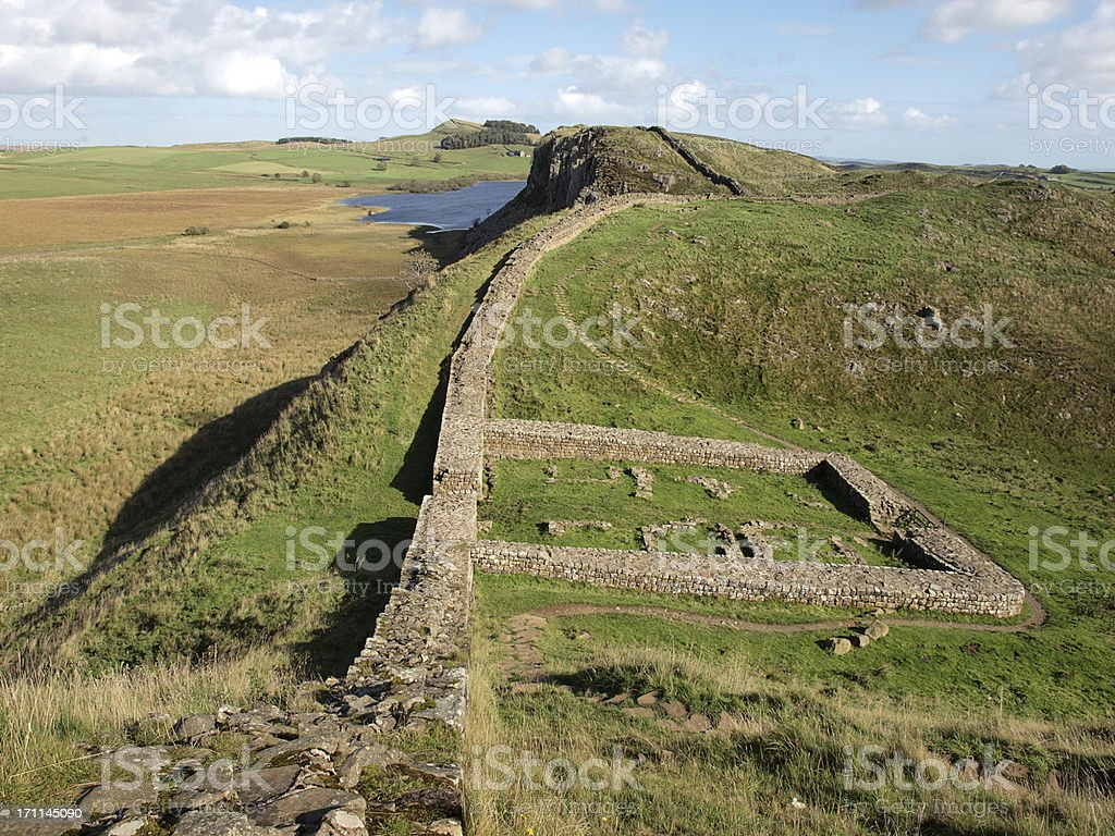 The remains of a Milecastle on Hadrian's Wall royalty-free stock photo