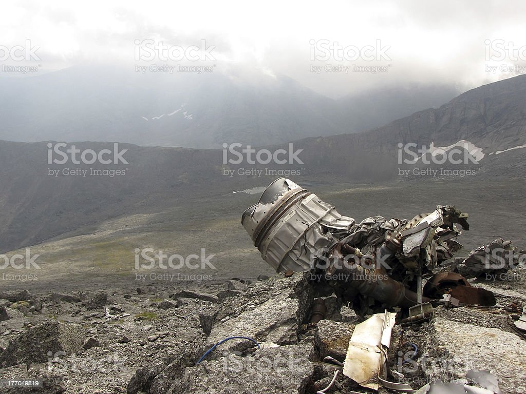 the remains of a plane crash stock photo