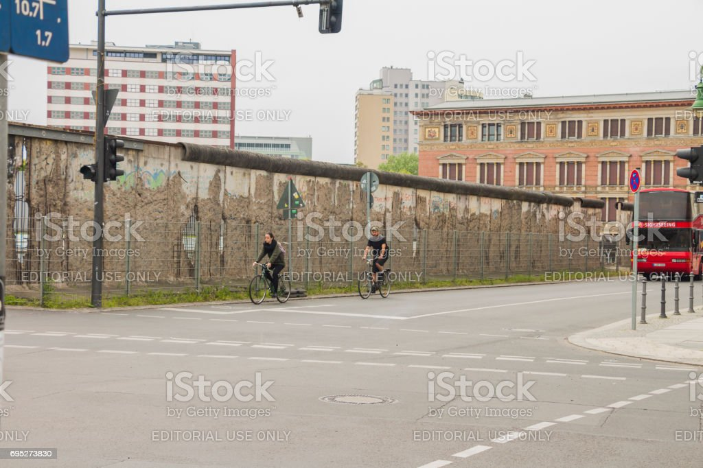 The remains of berlin wall in the city of Berlin stock photo