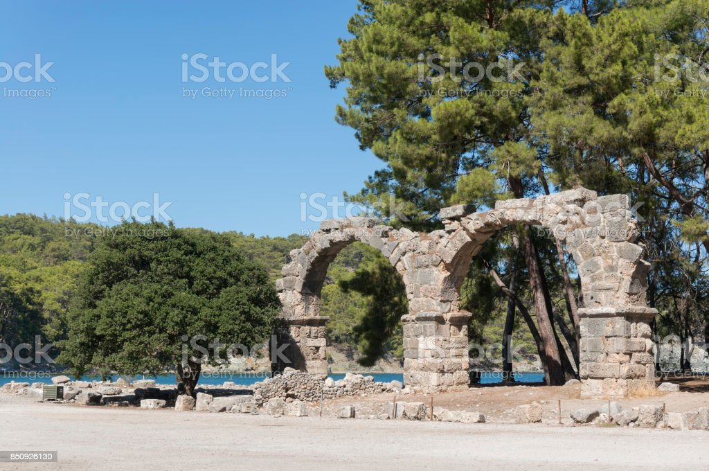 The Remains Of The Aqueduct at Phaselis Antique City, Antalya, Turkey stock photo